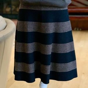 Spense Knit Brown Striped Flare Skirt Size M